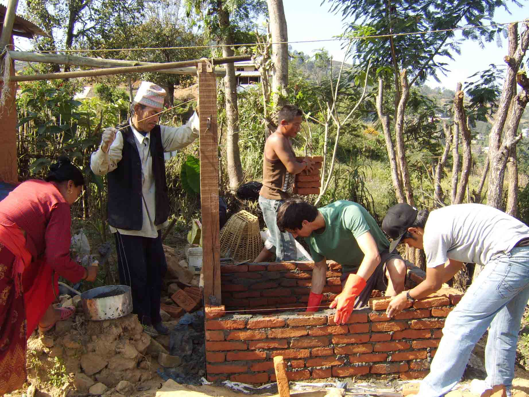 toilet construction with International volunteers