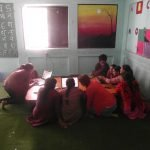 Volunteers giving computer training to women of kavresthali