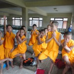 yoga at buddhist monastery