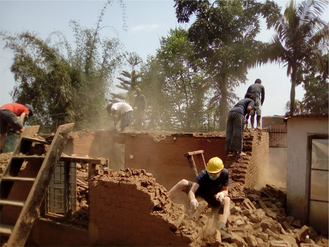 Volunteers on Construction work